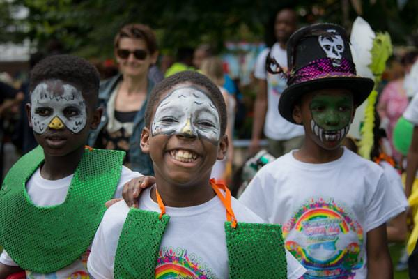 2016 Waterloo Carnival - Local children from community parading with London School of Samba