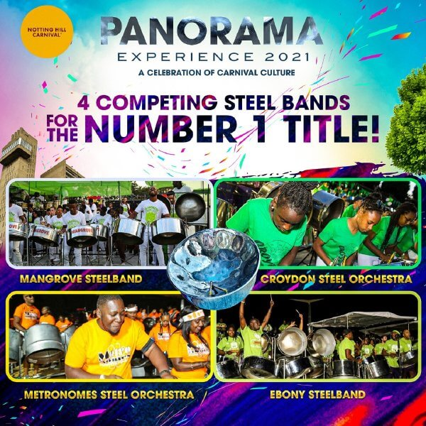 Panorama 2021 Poster showing four steel bands playing