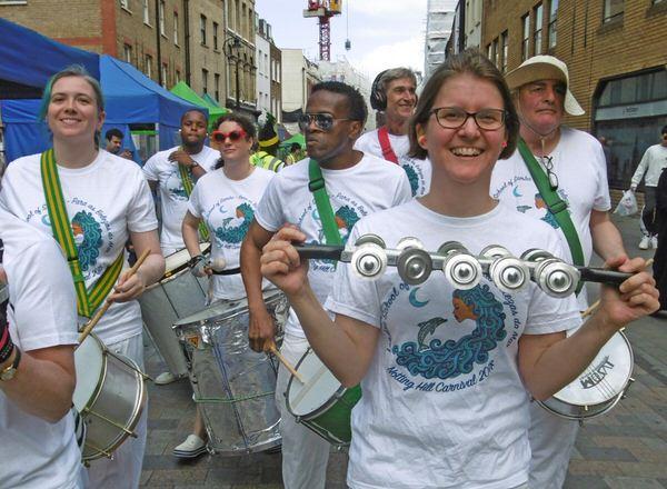 London School of Samba Bateria playing at the Waterloo Carnival