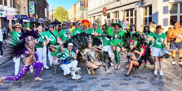 London School of Samba at Waterloo Carnival 2021 - photo of the band and the fantastic dancers
