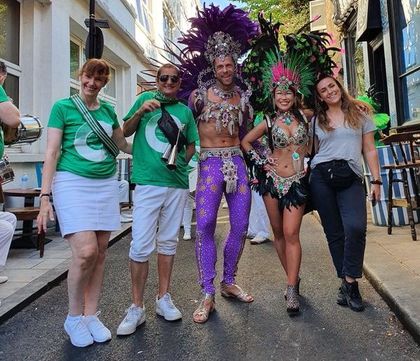 London School of Samba at Waterloo Carnival 2021 - photos of samba dancers and drummers