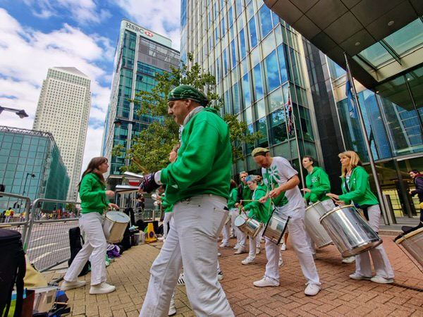 London School of Samba performing at the London Marathon 2021 in Canary Wharf